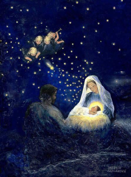 Wall Art - Painting - Holy Family - Christmas by Terezia Sedlakova