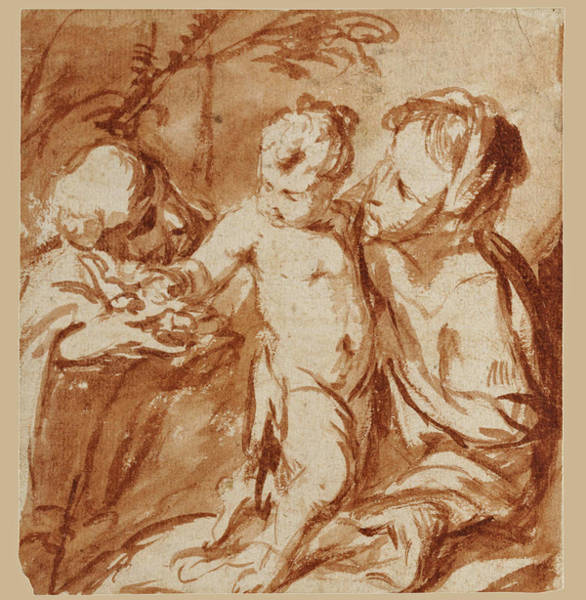 Pier Drawing - Holy Family by Circle of Pier Francesco Mazzucchelli