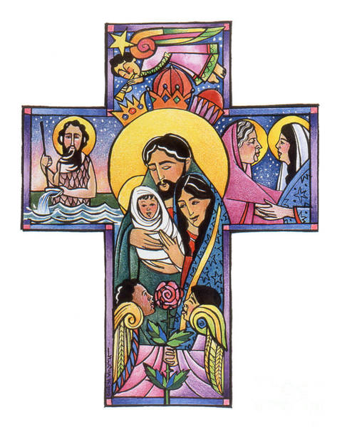 Painting - Holy Family Cross - Mmhfc by Br Mickey McGrath OSFS