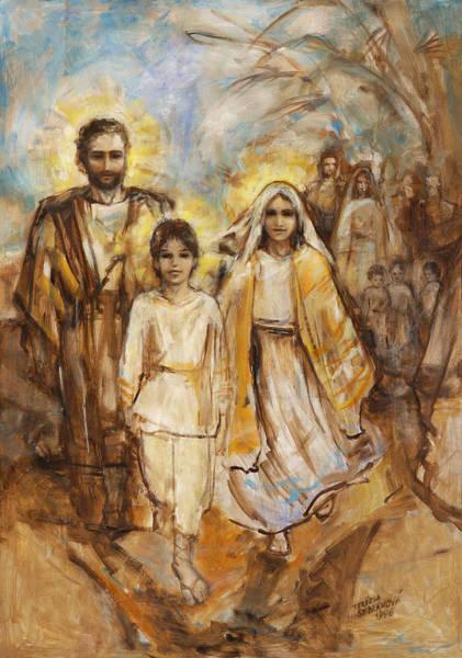 Wall Art - Painting - Holy Family Approaching Jerusalem by Terezia Sedlakova