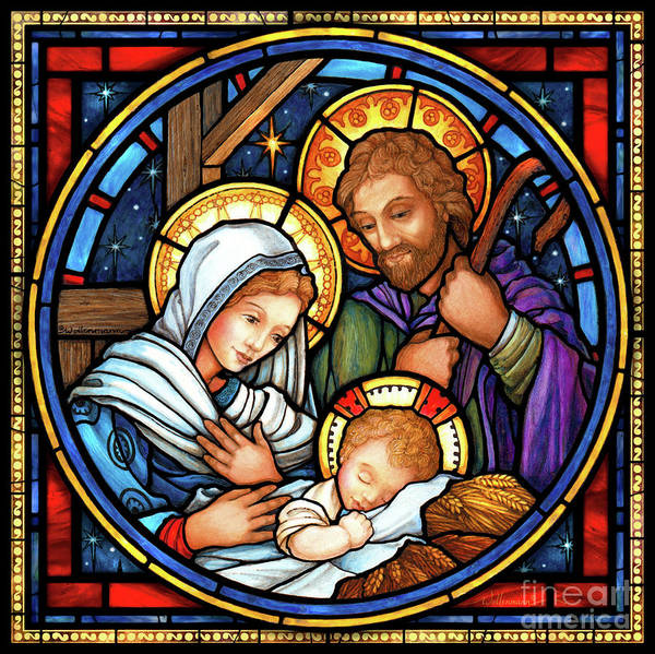Digital Art - Holy Family Stained Glass by Randy Wollenmann
