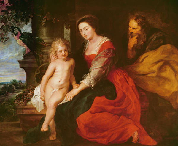 Wall Art - Painting - Holy Family With Parrot by Rubens