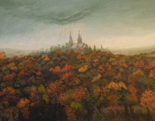 Painting - Holy Hill Rain Storm by Dan Wagner