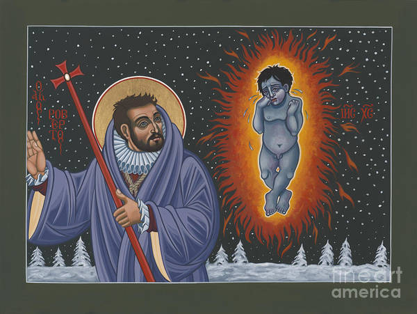 Painting - Holy Poet-martyr St Robert Southwell And The Burning Babe 199 by William Hart McNichols