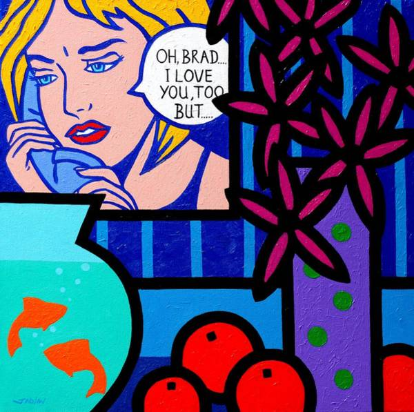 Wall Art - Painting - Homage To Lichtenstein With Goldfish by John  Nolan