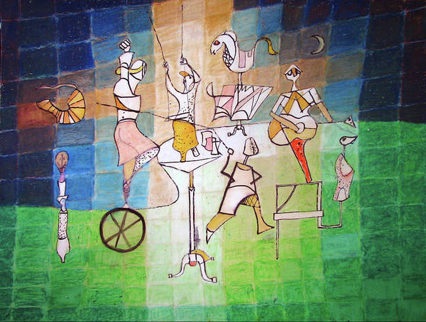 Traditional Dances Drawing - Homage To Paul Klee by Ryan Babcock