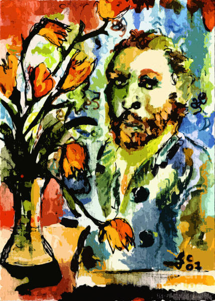 Dutch Tulip Painting - Homage To Vangogh Tulips And Portrait by Ginette Callaway