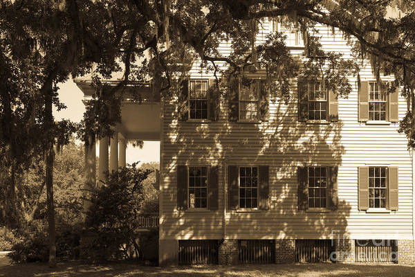 Photograph - Mcleod Plantation Home In Black And White by Dale Powell