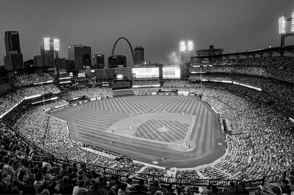 Photograph - Home Field Advantage - Saint Louis Busch Stadium - Monochrome by Gregory Ballos