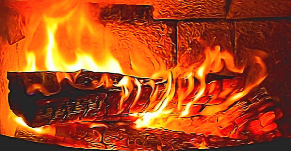 Mixed Media - Home Fire Burning by Pamela Walton