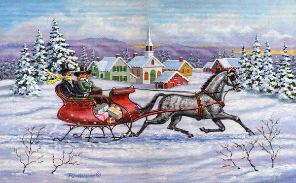 Sleigh Wall Art - Painting - Home For Christmas by Richard De Wolfe