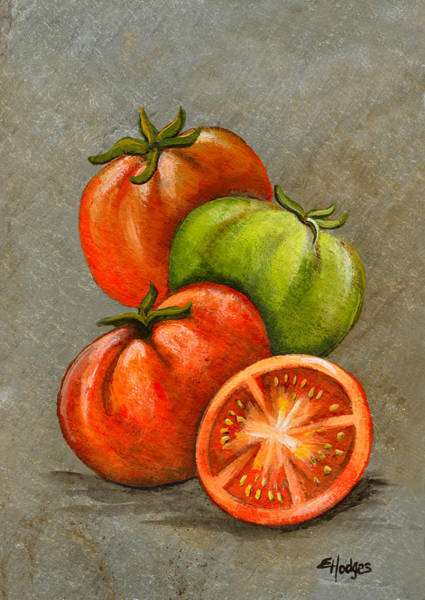 Slate Painting - Home Grown Tomatoes by Elaine Hodges