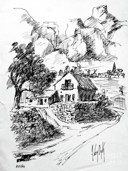 Homestead Drawing - Home In The Fields In Benidorm, Spain by Dorothy Hilde