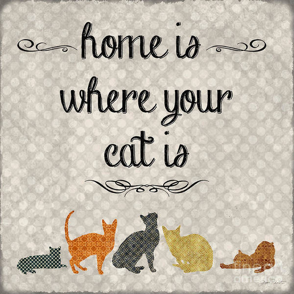 Motivational Painting - Home Is Where Your Cat Is-jp3040 by Jean Plout