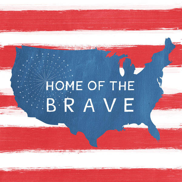 Flag Wall Art - Painting - Home Of The Brave by Linda Woods