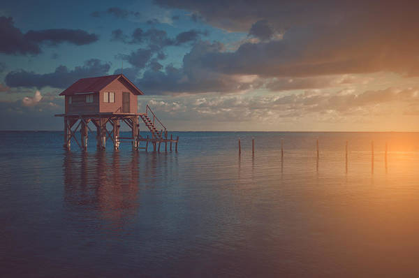 Ambergris Caye Photograph - Home On The Ocean In Ambergris Caye Belize With Vintage Filter by Brandon Bourdages
