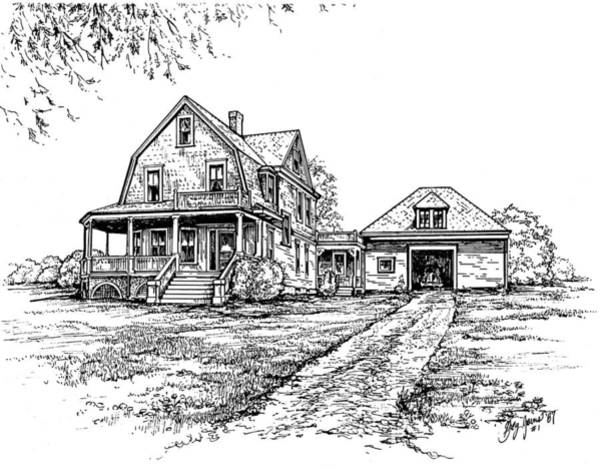 Rural Drawing - Home Place by Greg Joens
