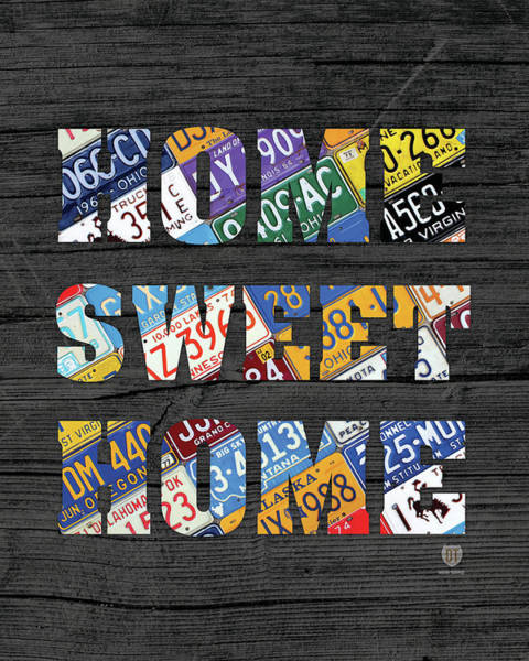 Rustic Mixed Media - Home Sweet Home Rustic Vintage License Plate Lettering Sign Art by Design Turnpike