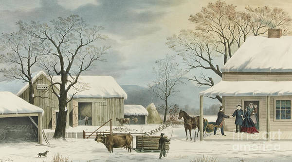 Currier And Ives Painting - Home To Home To Thanksgiving, 1867 by Currier and Ives