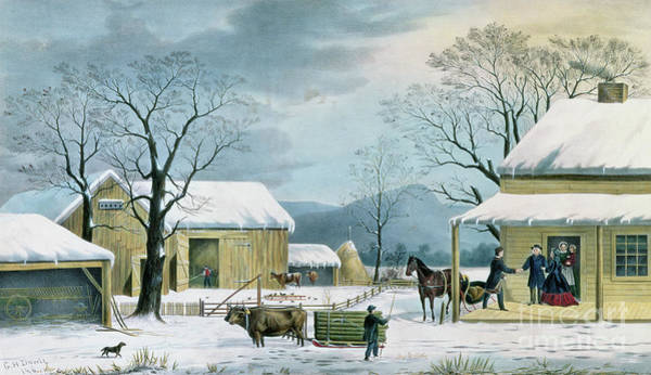 Family Farm Painting - Home To Thanksgiving by George Durrie