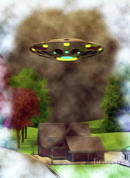 Area 51 Wall Art - Painting - Home Visit - Ufo Invasion by Raphael Terra