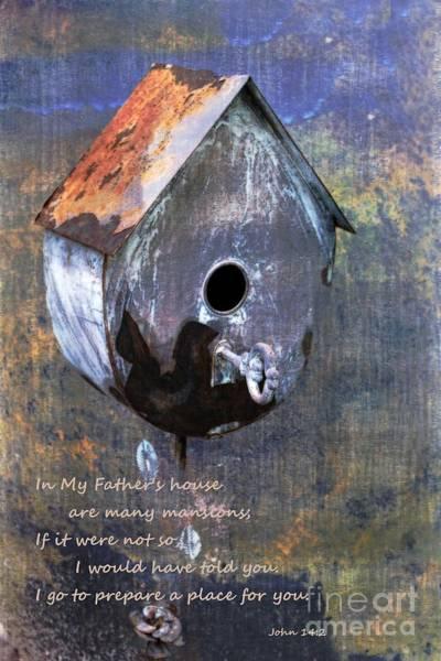 Mansion Mixed Media - Home With Bible Scripture John 14 Vs 2 by Ella Kaye Dickey