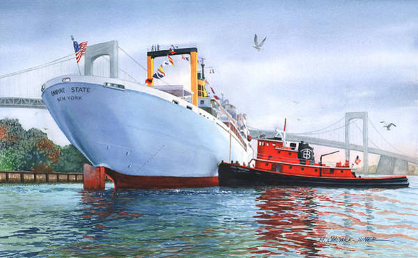 Tugboat Wall Art - Painting - Homecoming Empire State  by Marguerite Chadwick-Juner
