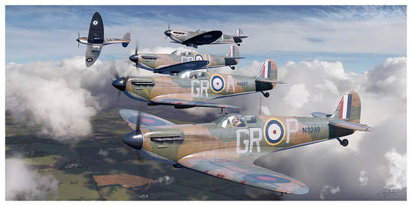 World War 1 Digital Art - Battle Of Britain Homeland Formation - Robert Stanford Tuck, Supermarine Spitfire Mk I by Craig Tinder