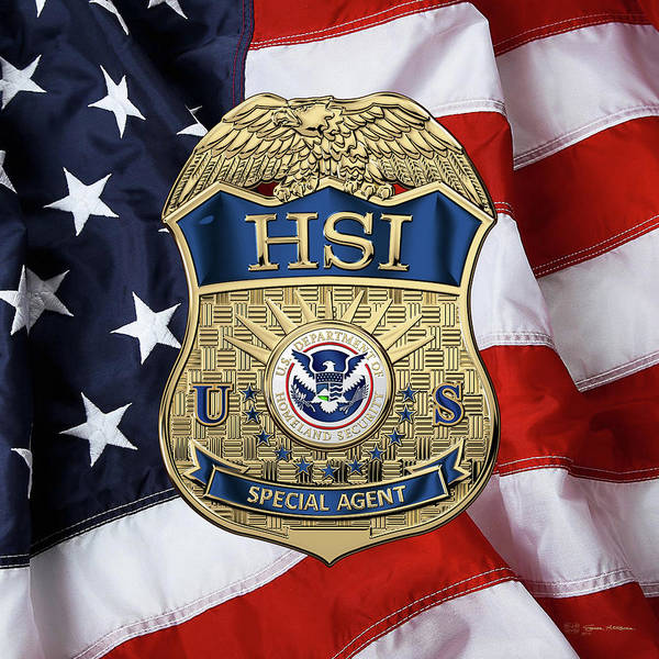Digital Art - Homeland Security Investigations - H.s.i. Special Agent Badge Over American Flag by Serge Averbukh