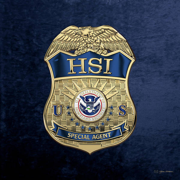 Digital Art - Homeland Security Investigations - H.s.i. Special Agent Badge Over Blue Velvet by Serge Averbukh