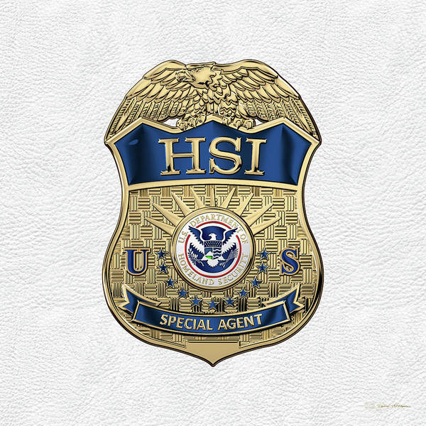 Digital Art - Homeland Security Investigations - H.s.i. Special Agent Badge Over White Leather by Serge Averbukh