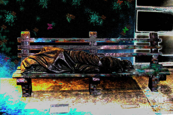 Park Bench Mixed Media - Homeless Jesus Statue by Johnny Armstrong