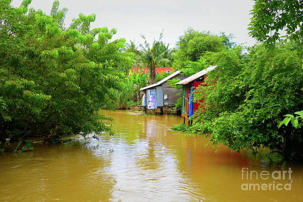 Mud House Photograph - Homes Along The Siem Reap River Stung Stoung River Cambodia  by Chuck Kuhn