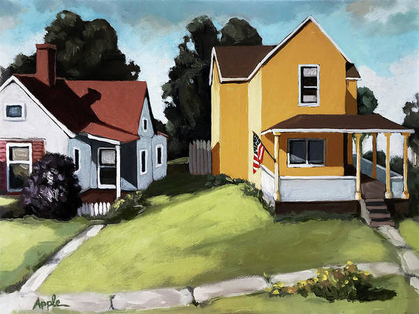 Wall Art - Painting - Hometown - Urban Scene Oil Painting by Linda Apple