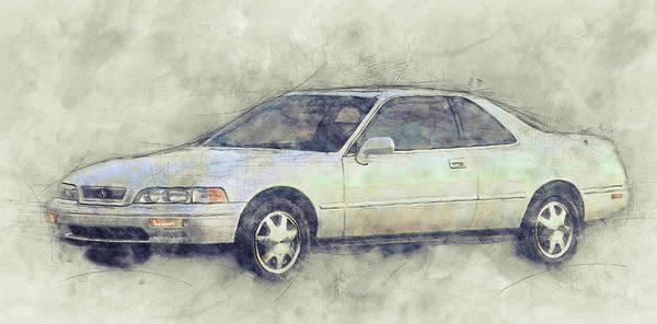 Four Wheeler Mixed Media - Honda Acura Legend 1 - Executive Car - 1985 - Automotive Art - Car Posters by Studio Grafiikka