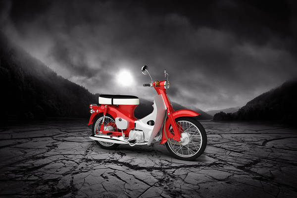 Valleys Digital Art - Honda C50 Cub 1967  Mountains by Aged Pixel