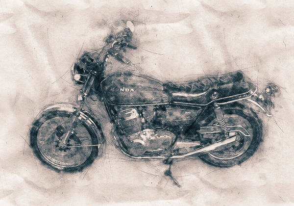 Trendy Mixed Media - Honda Cb750 - Superbike - 1969 - Motorcycle Poster - Automotive Art by Studio Grafiikka
