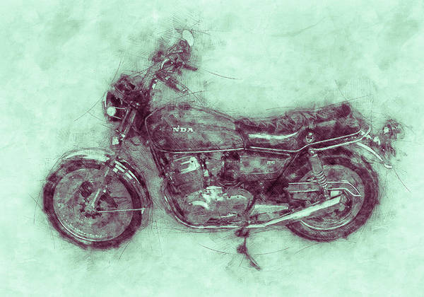Wall Art - Mixed Media - Honda Cb750 - Superbike 3 - 1969 - Motorcycle Poster - Automotive Art by Studio Grafiikka