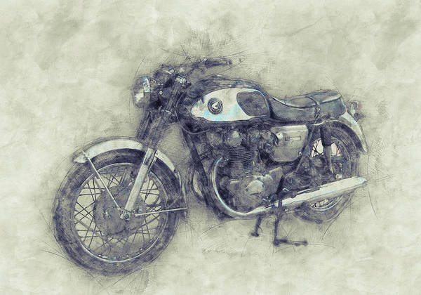 Wall Art - Mixed Media - Honda Cb77 - Honda Motorcycles 1 - Motorcycle Poster - Automotive Art by Studio Grafiikka