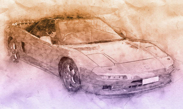 Wall Art - Mixed Media - Honda Nsx 2 - Acura Nsx - Sports Car - Automotive Art - Car Posters by Studio Grafiikka