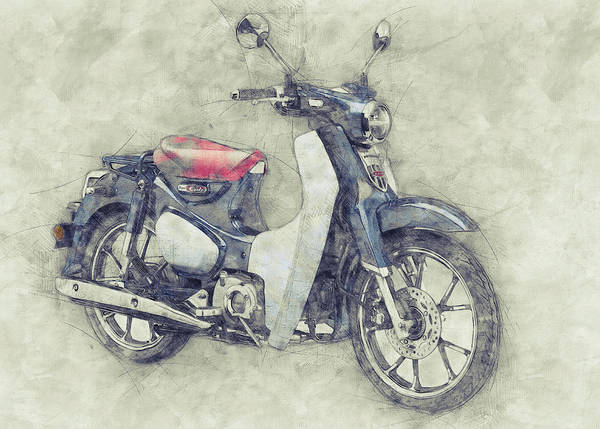 Wall Art - Mixed Media - Honda Super Cub 1 - Motor Scooters - 1958 - Motorcycle Poster - Automotive Art by Studio Grafiikka