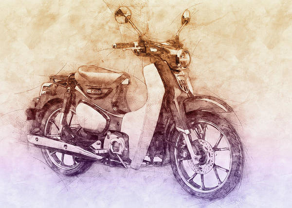 Wall Art - Mixed Media - Honda Super Cub 2 - Motor Scooters - 1958 - Motorcycle Poster - Automotive Art by Studio Grafiikka