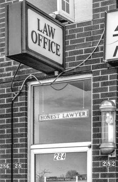 In Law Photograph - Honest Lawyer Bw by Steve Harrington