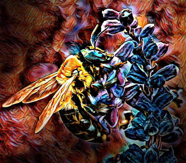 Digital Art - Honey Bee Working by Artful Oasis