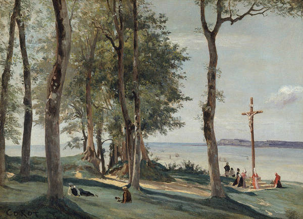 Painting - Honfleur - Calvary by Jean-Baptiste-Camille Corot