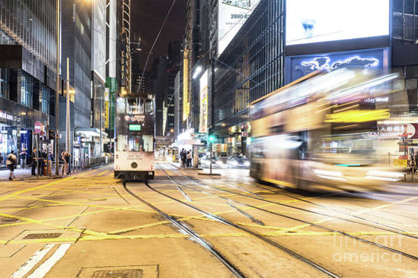 Photograph - Hong Kong Bus Rush In Central by Didier Marti