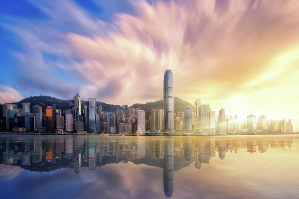 Hongkong Photograph - Hong Kong City Before Sunset With Victoria Peak by Anek Suwannaphoom