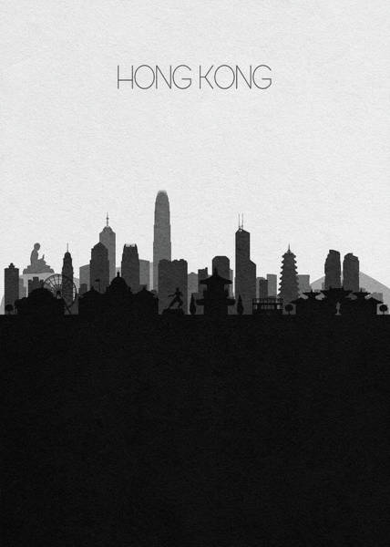 Chinese Drawing - Hong Kong Cityscape Art by Inspirowl Design