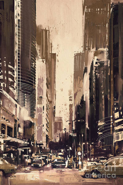 Art Print featuring the painting Hong-kong Cityscape Painting by Tithi Luadthong