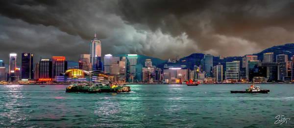 Photograph - Hong Kong Harbor At Dusk by Endre Balogh